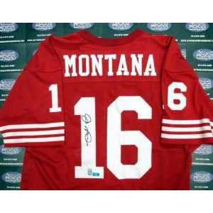 Joe Montana Autographed Football   (Red Jersey   Autographed NFL