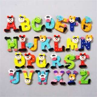 26PCS cartoon Kids Wooden Alphabet fridge Magnet,Child Educational Toy
