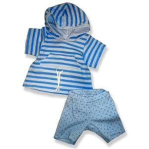 Blue Stripe Top with Leggings Outfit Teddy Bear Clothes