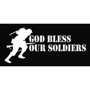 God Bless Our Soldiers White 8 Vinyl Die Cut Decal Sticker
