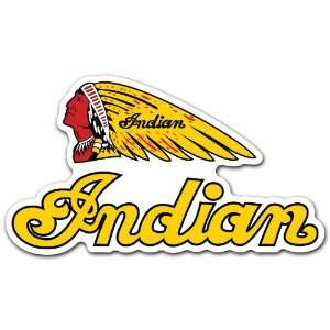 Indian Head Motorcycle Biker Racing Car Bumper Sticker Decal 5x3