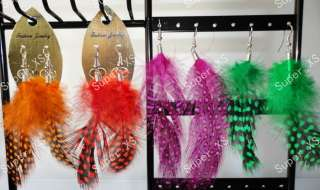 wholesale jewelry Mixed lots 24pairs natural pheasant feather earrings