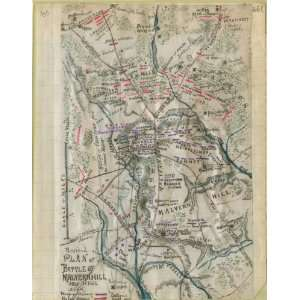 Civil War Map Revised plan of battle of Malvern Hill, July