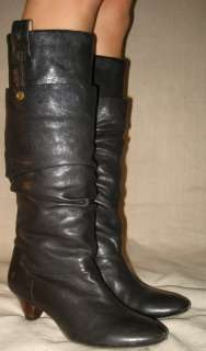 Authentic With Box Frye Jenny Double black leather slouchy knee boots