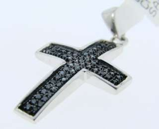 MENS LADIES MINI BLACK DIAMOND CROSS PENDANT .25 CT