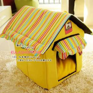 Dog Cat Pet Tent House/Bed Foldable 2 Colors for Choose Yellow/Green