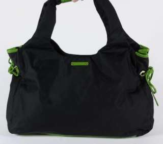 Kate Spade New York Black Nylon Tote Shopper Green Leather Trim Chrome