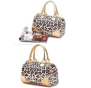 Victorias Secret Gold leopard print satin tote purse handbag