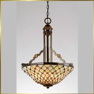 Tiffany Chandelier, QZTF1911NE, 3 lights, Antique Bronze, 21 wide X