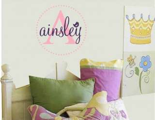 Personalized Name with bird Mongram Vinyl Wall Sticker Decal