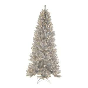 9 Pre Lit Silver Tinsel Noble Pine Artificial Christmas