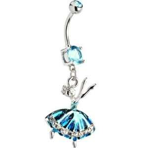 Aqua Gem Beautiful Ballerina Belly Ring Jewelry