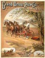 Grand Detour Plow Co. three horses pulling plow poster