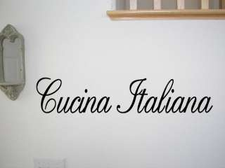 CUCINA ITALIANA Vinyl Wall Quote Decal Italian Kitchen