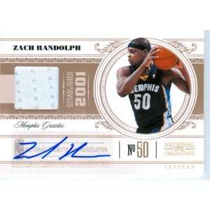 2011 National Treasures Authentic Zach Randolph Autograph Game Worn