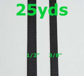 Inch,1/2 Inch 25yds Black Lite Weight Nylon Webbing
