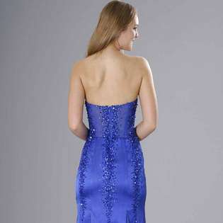 Satin Evening Dress. Sapphire Blue Strapless Prom Dress. Womens Long