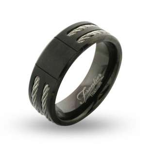 Mens Wide Black Titanium Signet Ring with Double Cable Inlay