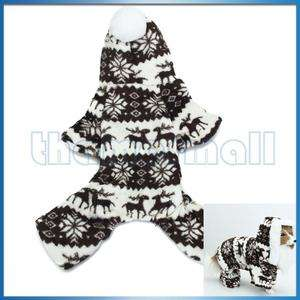 Pet Dog Fluffy Hoodie Hooded Jumpsuit Coat w/ Reindeer & Snowflake