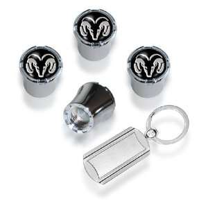 Dodge Ram Valve Stem Caps Chrome Black (with Key Chain