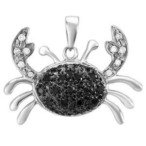 Sterling Silver Real White & Black Diamond Ladies Crab Pendant 1/3 CT