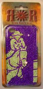 WESTERN BUCKING HORSE BARREL RACER COVER CASE PURPLE PINK BLACK BLING