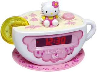 NEW* KIDS GIRLS CHILDS HELLO KITTY TEA CUP ALARM CLOCK RADIO AND