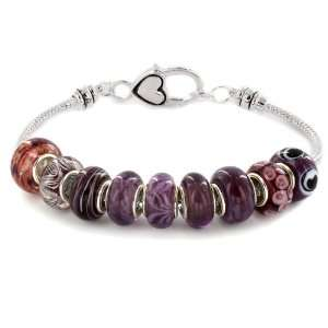Time Purple Murano Glass Bead Bracelet with Heart Clasp SZUL Jewelry