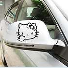2x reflective black {angry hello kitty }car rearview mirror decal