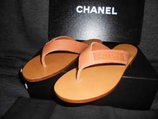 CHANEL Leather Thong Flip Flop Flat Sandals Shoes 35.5