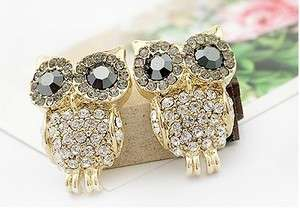 New Fashion Jewelry Womens Crystal Big Eye Owl Earrings Stud