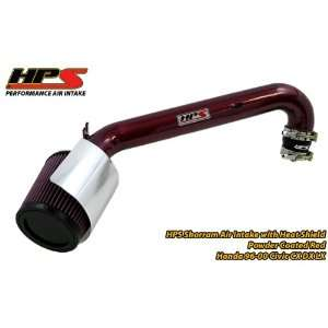 96 00 Honda Civic CX/DX/LX Short Ram Intake by HPS   Red Automotive