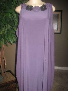 NWT TAYLOR Rosette Plum Sleeveless Dress Women Plus 24W
