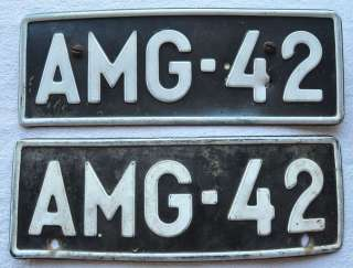 1960s Finland Pair of Vintage Car Auto License Plates #AMG 42. Made of