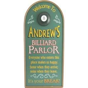 Personalized Billiard Parlor Wooden Sign 3378ds