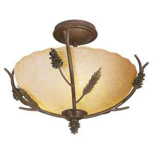 Hampton Bay Lodge Collection 3 Light Semi Flush Mount Weathered Spruce