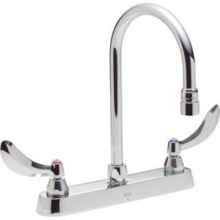 Delta Commercial 2 Handle Kitchen Faucet in Chrome With Lever Blade