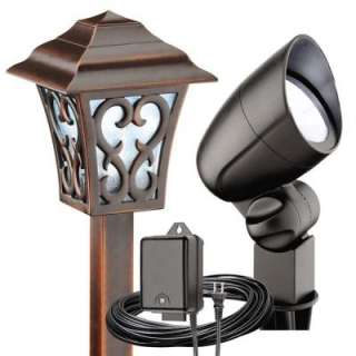 Malibu 6 Light Outdoor Tarnished Copper/Black Coach Style Light Kit