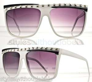 80s RETRO SUPER FLAT TOP PARTY ROCK LMFAO GLASSES SUNGLASSES WHITE