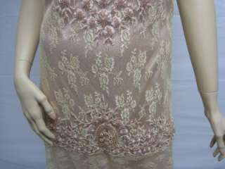 Sue Wong Gold Peach Evening Dress Gown Wedding 4 NEW Desinger Cocktail