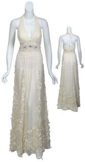 SUE WONG Lovely Ivory Silk Chiffon Rhinestone Petal Bridal Eve Gown