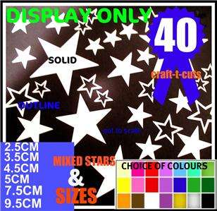 40 WHITE VINYL STAR STICKERS CAR BIKE BEDROOM WALL ART
