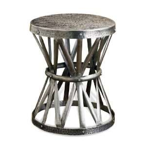 Araby Rustic Hammered Antique Silver Accent Side Table
