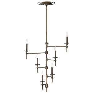 Grand Art Deco Modern Oiled Bronze 6 Light Chandelier