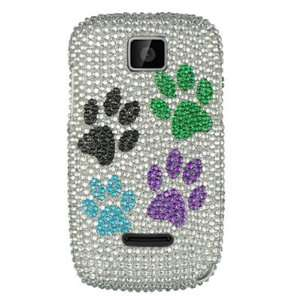 Hard Snap on case With SILVER COLOR DOGS PAWS Rhinestones Bling Bling