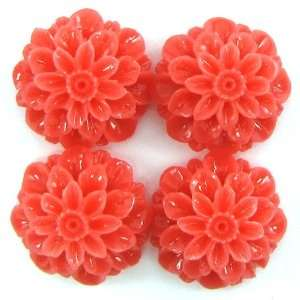 20mm pink coral carved chrysanthemum flower pendant bead 4pcs