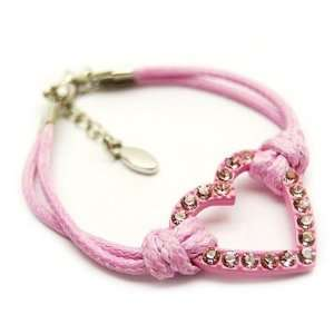 Light Pink Crystal Heart Cord Bracelet Arts, Crafts & Sewing