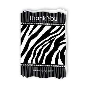 Zebra   Personalized Baby Thank You Cards With Squiggle
