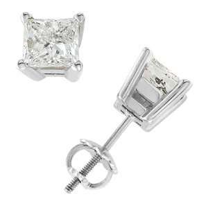 14k White Gold & Princess Diamond Stud Earrings (2.00 ctw) Jewelry
