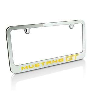 Ford 2005 up Yellow Mustang GT Chrome Auto License Plate Frame